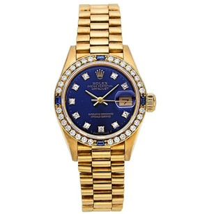 Rolex Rolex 18K Gold Custom Diamond blue Dial Ladies Presidential Watch