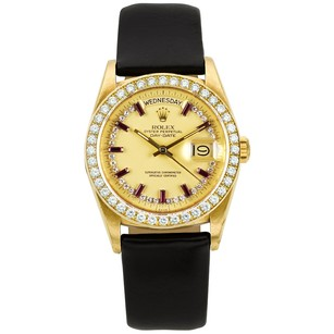 Rolex ROLEX 18K Gold DAY DATE CUSTOM RUBY DIAMOND DIAL WATCH