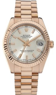 Rolex Rolex Datejust 18K Rose Gold Silver Dial Unisex Watch