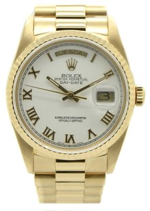 Rolex Rolex Day-Date 18K Yellow Gold White Roman Dial Men's Presidential Watch