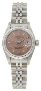 Rolex Rolex Date Stainless Steel Pink Dial Ladies Watch