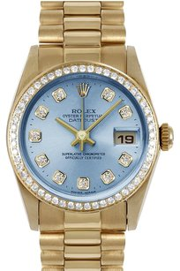 Rolex ROLEX 31mm Mid-Size 18k Yellow Gold Blue Diamond Dial President Watch