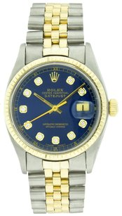 Rolex Rolex 36mm Stainless Steel and Yellow Gold Blue Diamond Watch