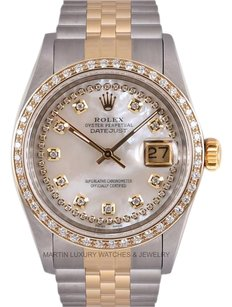 Rolex Rolex Datejust 2 Tone 18k Gold-White MOP String Diamond Dial and Bezel