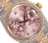 Rolex Rolex Datejust 2 Tone-Diamond Pink Floral Motif Dial-18k Gold Fluted B