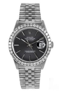 Rolex Rolex DateJust Black Tapestry Dial Diamond Bezel Watch 16014