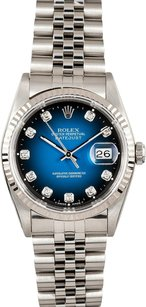 Rolex Rolex Datejust Blue Vignette Diamond Dial Watch 16234
