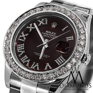 Rolex Rolex Datejust Ii Red Roman Diamond Dial 41mm Watch Diamond Bezel 116300