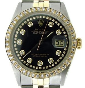 Rolex Rolex Datejust Men 2tone 18k Gold Steel Watch Jubilee Black Diamond String 16013
