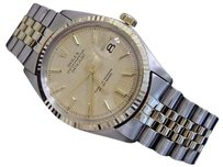 Rolex Rolex Datejust Mens 2t 14k Gold Stainless Steel W Oval Link Jubilee Band 1601