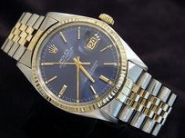 Rolex Rolex Datejust Mens 2tone 14k Gold Stainless Steel Jubilee Band Blue Dial 16013