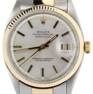 Rolex Rolex Datejust Mens 2tone 14k Gold Stainless Steel Oyster Fluted Silver 1601