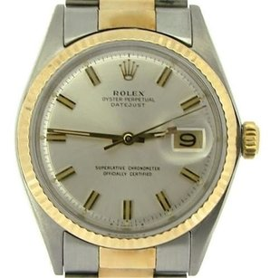 Rolex Rolex Datejust Mens 2tone 14k Gold Stainless Steel Oyster Wsilver Dial 1601