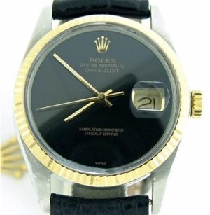 Rolex Rolex Datejust Mens 2tone 14k Gold Stainless Steel Watch Black Strap Band Dial
