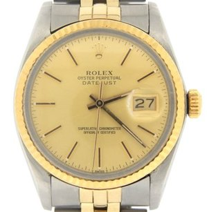 Rolex Rolex Datejust Mens 2tone 18k Gold Stainless Steel Jubilee Champagne Dial 16013