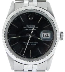 Rolex Rolex Datejust Mens Ss Stainless Steel Jubilee Quickset Black Dial Watch 16030