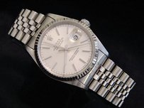 Rolex Rolex Datejust Mens Stainless Steel 18k White Gold Quickset Jubilee Silver 16234