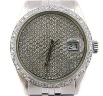 Rolex Rolex Datejust Mens Stainless Steel Watch Jubilee Band Pave Diamond Dial Bezel