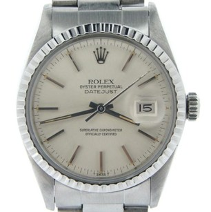 Rolex Rolex Datejust Mens Stainless Steel Watch Quickset Oyster With Silver Dial 16030