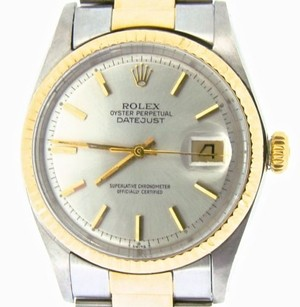 Rolex Rolex Datejust Mens Two-tone 14k Gold Stainless Steel Oyster W Silver Dial 1601