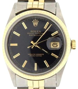 Rolex Rolex Datejust Mens Two-tone 14k Yellow Gold Stainless Steel W Black Dial 1601