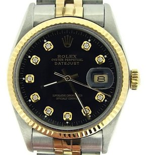 Rolex Rolex Datejust Mens Two-tone Stainless Steel 18k Yellow Gold Black Diamond 16013