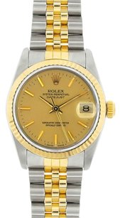 Rolex Rolex DateJust Midsize Two Tone Champagne Stick Dial Watch 68273