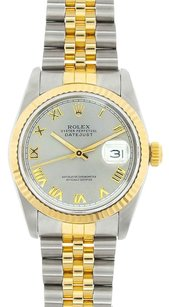 Rolex Rolex DateJust Midsize Two Tone Silver Roman Dial Watch 68273