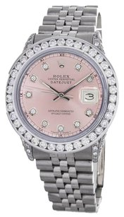 Rolex Rolex DateJust Pink Mother of Pearl Diamond Stainless Steel Watch 16014