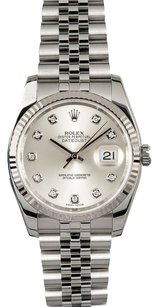 Rolex Rolex Datejust Silver Diamond Dial Watch 116234