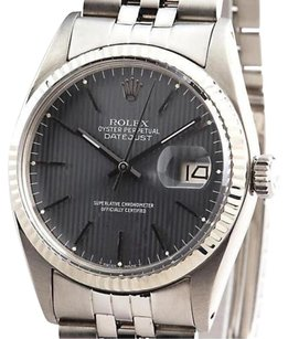 Rolex Rolex Datejust Stainless Steel 18k White Gold Jubilee Slate Gray Tapestry 16014