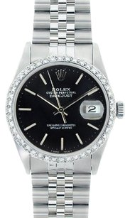 Rolex Rolex DateJust Stainless Steel Black Stick Dial Diamond Bezel Watch 16014