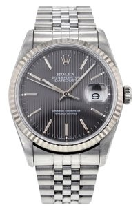 Rolex Rolex DateJust Stainless Steel Black Tapestry Dial Jubilee Bracelet Watch 16234