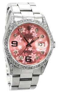 Rolex Rolex Datejust Stainless Steel Custom Diamond Pink flower Dial Unisex Watch