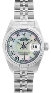 Rolex Rolex DateJust Stainless Steel White Mother of Pearl Roman Dial Watch 69174