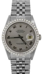 Rolex Rolex DateJust Stainless Steel Custom Diamond Bezel Silver Dial Men's Watch
