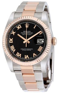 Rolex Rolex DateJust Two-Tone 18k Rose Gold Stainless Steel Oyster Black Roman Dial Watch 116231