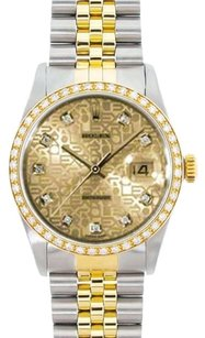 Rolex Rolex DateJust Two-Tone Champagne Diamond Dial Watch 16013