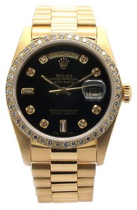 Rolex Rolex Day Date 18038 18K Yellow Gold Custom Diamond Black Dial Men's Watch