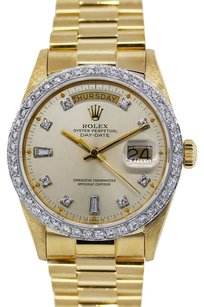 Rolex ROLEX DAY DATE 18K YELLOW GOLD CUSTOM DIAMOND BEZEL MEN'S WATCH
