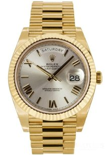 Rolex Rolex Day-Date 40 Silver Roman Dial 18k Yellow Gold President Watch 228238