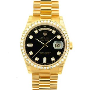 Rolex Rolex Day-Date Black Diamond 18k Yellow Gold Watch 18238