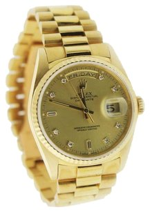 Rolex Rolex Daydate Mens 19018 18K Yellow Gold Diamond Watch