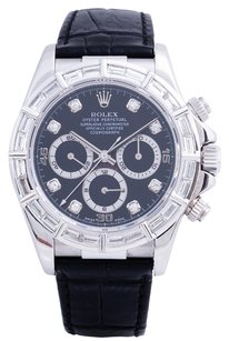 Rolex Rolex Daytona Stainless Steel Custom Diamond Black Dial Men's Watch