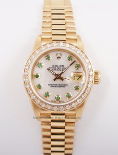 Rolex Rolex Ladies 18k President Yellow Gold-White MOP w/Green Diamonds-Diam