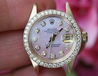 Rolex Rolex Ladies 18k Yellow Gold President Head Pink Diamond Bezel 18k 6901 Mil