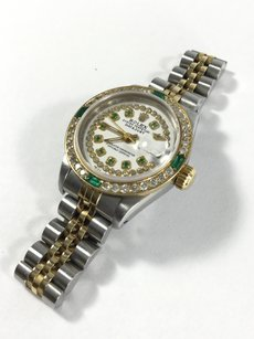 Rolex Rolex Ladies 18K/SS Diamond Dial & Emerlad Bedset Dial Watch