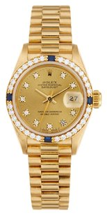 Rolex Rolex Datejust 18K Gold Custom Diamond and Sapphire Ladies Presidential Watch