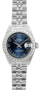 Rolex Rolex Ladies DateJust Blue Roman Diamond Bezel Watch 69174