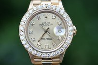 Rolex Rolex Ladies President Yellow Gold 26mm Factory Diamond Dial Custom Bezel 69178
